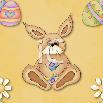 Royalty Free Clipart Image of a Bunny and Egg Easter Background