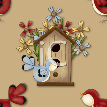 Royalty Free Clipart Image of a Songbird and Birdhouse Background