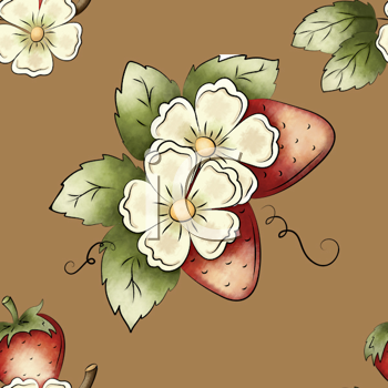 Royalty Free Clipart Image of a Strawberry and Blossom Background