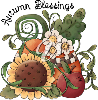 Royalty Free Clipart Image of an Autumn Blessings Graphic