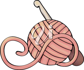 Royalty Free Clipart Image of a Crochet Hook and Ball of Yarn
