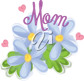 Royalty Free Clipart Image of Flowers and the Word Mom