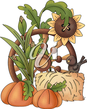 Royalty Free Clipart Image of an Autumn Scene