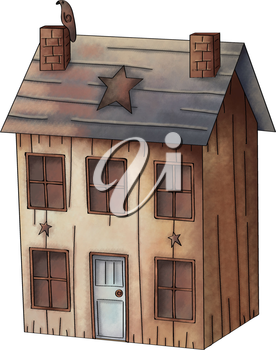 Royalty Free Clipart Image of a Wooden House