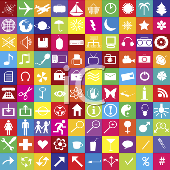 Royalty Free Clipart Image of a Hundred Web Icons in Bright Colours