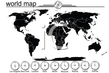 Detailed world map with country borders and time in main cityes