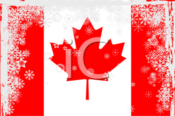 Royalty Free Clipart Image of a Canadian Flag With Snowflakes