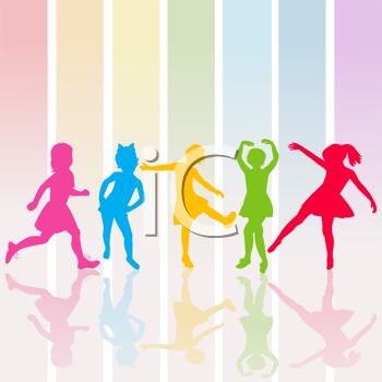 Royalty Free Clipart Image of a Pastel Striped Background With Silhouetted Girls