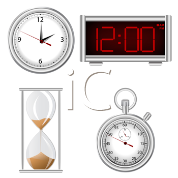 Royalty Free Clipart Image of a Set of Time Elements