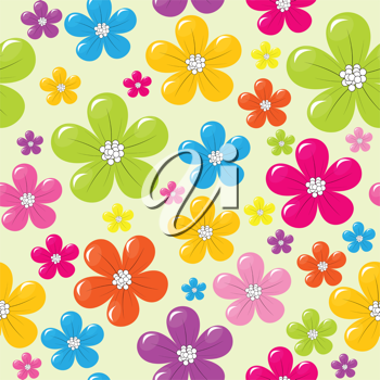 Seamless pattern with colored flowers