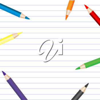 Background with colored pencils and place for your text