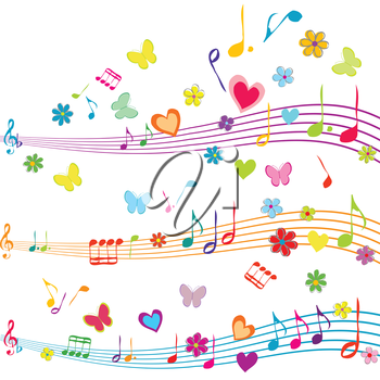 Colorful music design with stave, butterflies, hearts and flowers