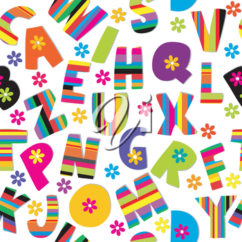 Seamless wirh letters of alphabet and flowers