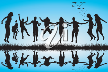 Group of boys and girls silhouettes jumping outdoor