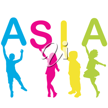 Children silhouettes holding letters building the word ASIA