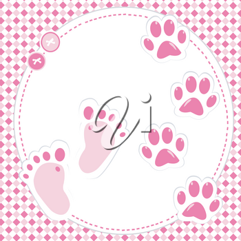Cute babygirl footprint and paws