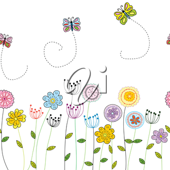 Seamless funny floral border with doodle flowers and butterflies