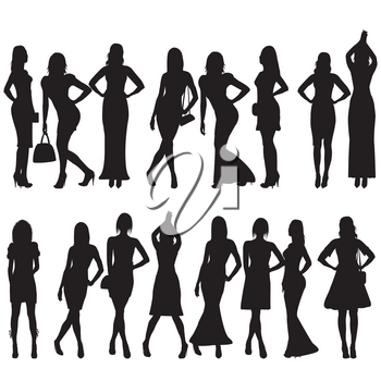 Collection of black silhouettes of beautiful women on white background