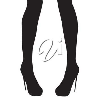 Woman legs in high heel shoes over white background