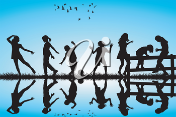 Silhouette of children playing outdoor