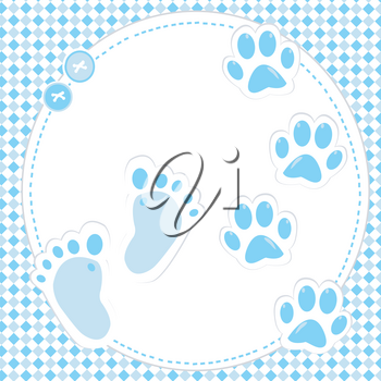 Cute baby boy footprint and paws