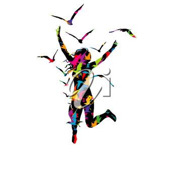 Abstract colorful illustration of a woman jumping and birds flying