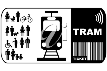 Tram ticket isolated on white background
