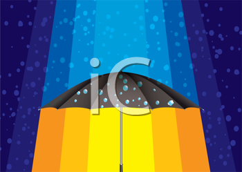 Royalty Free Clipart Image of an Umbrella With Rain Above and Sun Beneath