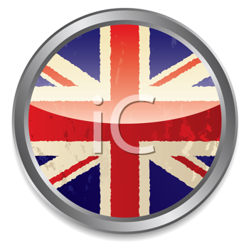 Royalty Free Clipart Image of a Union Jack in a Silver Circle