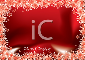 Royalty Free Clipart Image of a Red Snowflake Border on a Merry Christmas Greeting