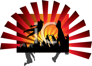 Royalty Free Clipart Image of People Jumping at a Concert