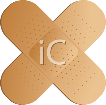 Royalty Free Clipart Image of Crossed Bandaids