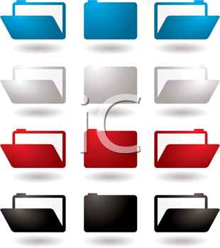 Royalty Free Clipart Image of a Set of File Folders