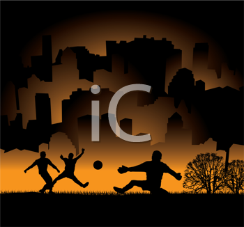 Royalty Free Clipart Image of Silhouetted People Playing Ball in a Park