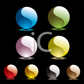 Royalty Free Clipart Image of Buttons With Yin Yang Waves