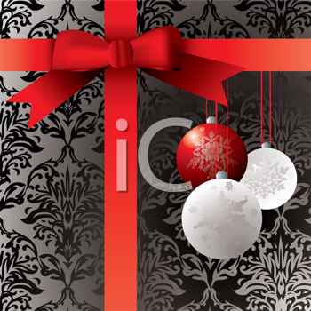 Royalty Free Clipart Image of a Wrapped Present With Ornaments