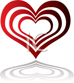 Royalty Free Clipart Image of Red Hearts Inside Red Hearts and a Shadow