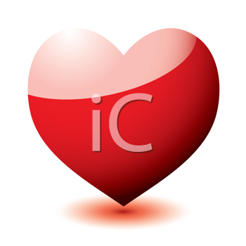 Royalty Free Clipart Image of a Heart With a Pink Top and Red Bottom