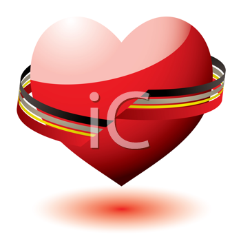Royalty Free Clipart Image of a Heart With a Ribbon Around It