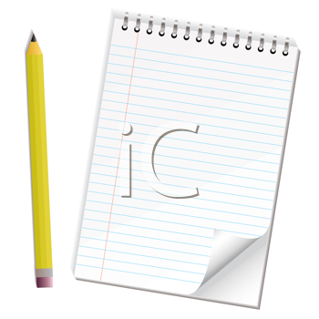 Royalty Free Clipart Image of a Notepad and Pencil