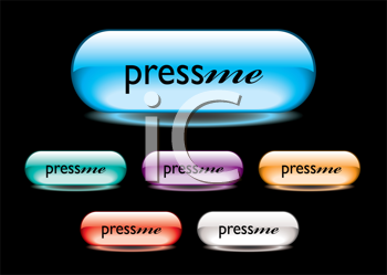 Royalty Free Clipart Image of Press Me Buttons