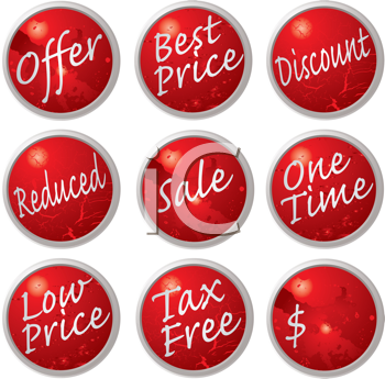 Royalty Free Clipart Image of a Collection of Buttons