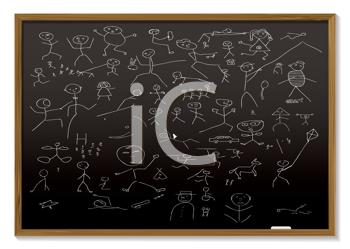 Royalty Free Clipart Image of Stick Men on a Chalkboard