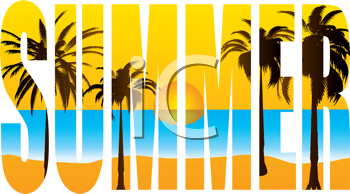 Royalty Free Clipart Image of the Word Summer With Palm Trees and a Beach