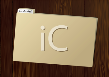 Royalty Free Clipart Image of a Brown Folder on a Wooden Table