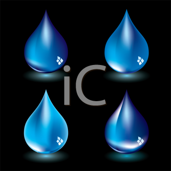 Royalty Free Clipart Image of Four Water Drops