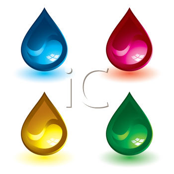 Royalty Free Clipart Image of Four Gel Drip Buttons