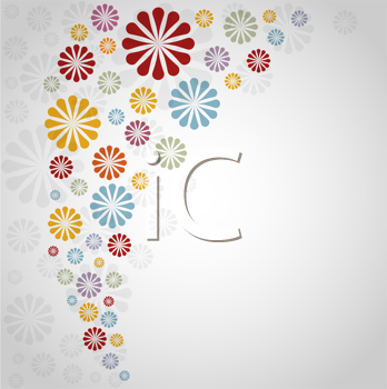 Royalty Free Clipart Image of a Background With a Floral Frame