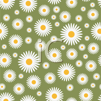 Royalty Free Clipart Image of a Daisy Pattern on Green