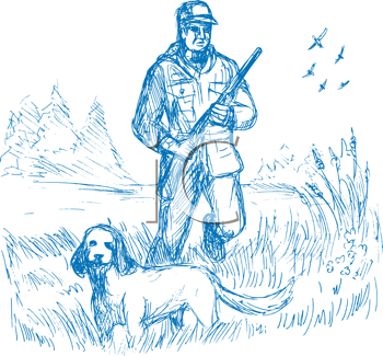 Royalty Free Clipart Image of a Hunter and Dog Walking in a Meadow